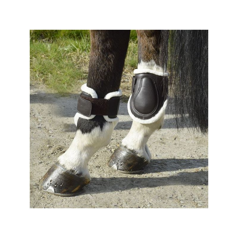 Synthetic leather and sheep skin fetlock boots