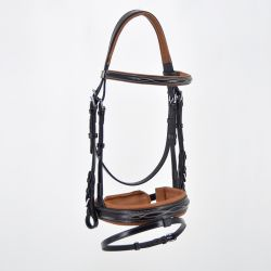 TWO-COLOURED BRIDLE - PULLBACK NOSEBAND - SILVER BUCKLES